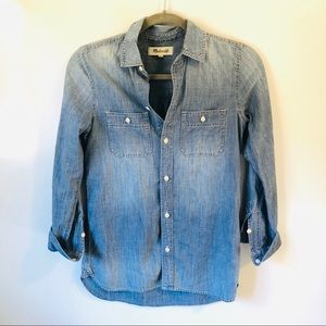 Madewell Denim Chambray Tab Sleeve Shirt XXS